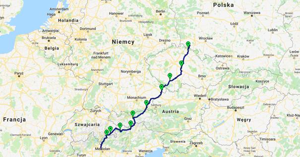 Mediolan-Jelenia Góra rowerem mapa