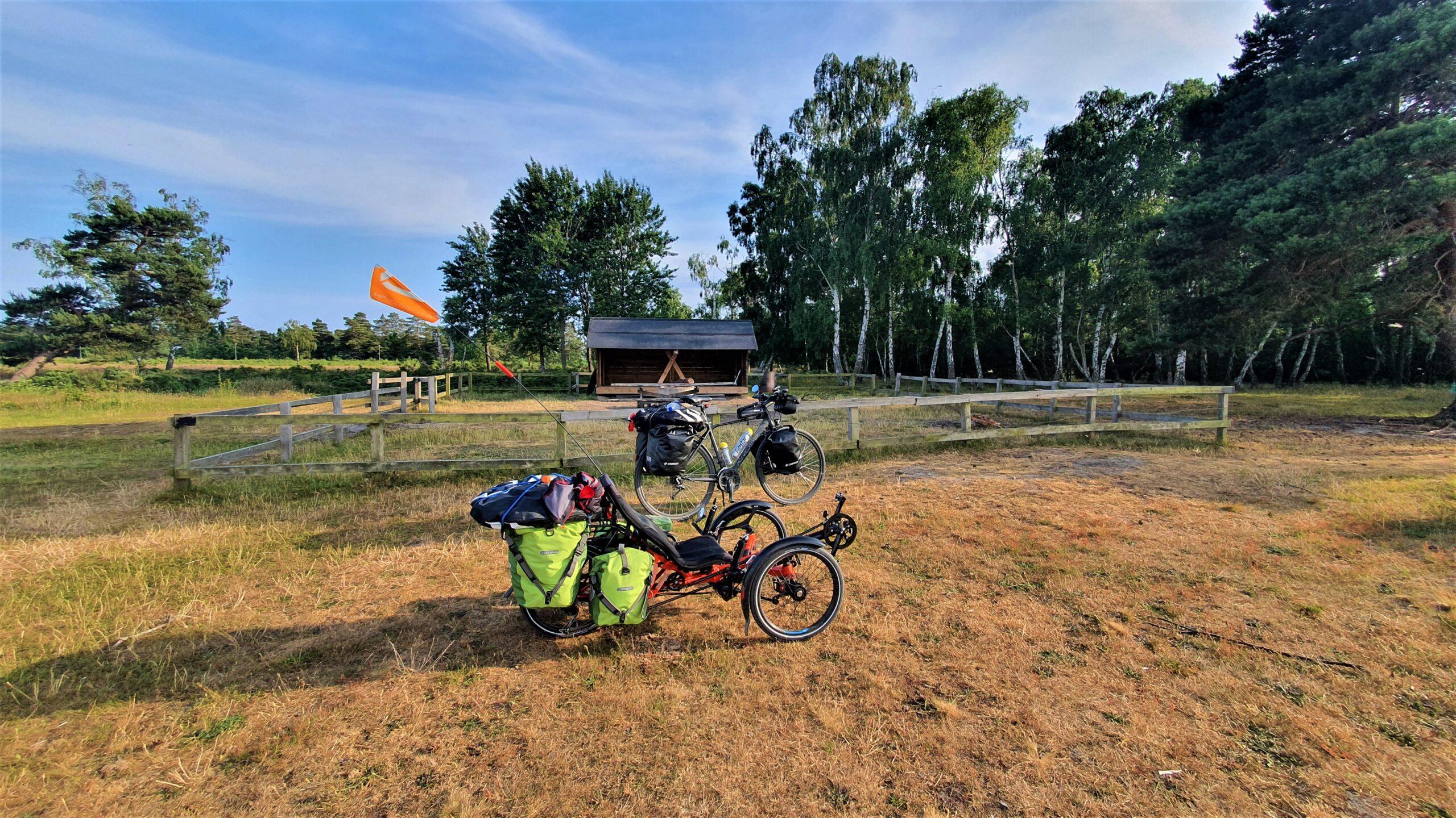 recumbent tricycle, test długodystansowy roweru poziomego, biwak na dziko